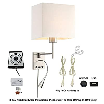 USB-LED-Swing-Arm-Bedside-Reading-Wall-Lamp-Light,LED-Reading-Swing-Arm-Wall-Lamp-Light,Wall-Sconces,Living-Room-Wall-Lamp,Corridor-Wall-Lamp,2-Lights-2-Switches-LED-3W-3000K-and-E26-Holder