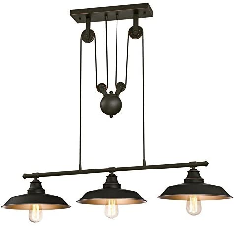 6332500-Iron-Hill-Three-Light-Pulley-Island-Pendant,-Oil-Rubbed-Bronze-Finish-with-Metallic-Bronze-Interior-Bundled-with-Six-60-Watt-LED-Dimmable-Edison-Bulbs-with-Medium-Base