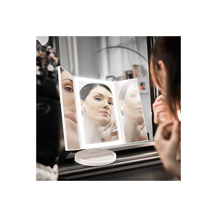 Backlit-Makeup-Vanity-Mirror-36-LED-Lights-Touch-Screen-Light-Control,-Tri-Fold-1/2/3X-Magnification,-Portable-High-Definition-Clarity-Cosmetic-Light-Up-Magnifying-Mirror-(Arctic-White)