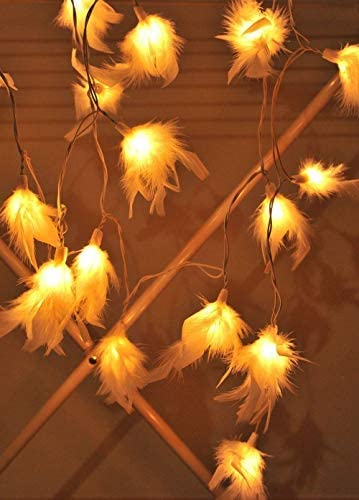White-Feather-Decor-String-Lights-Decorative-Home,-Bedroom