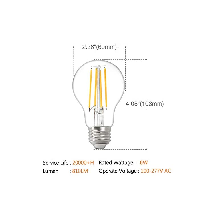 10Pack-A19-LED-Edison-Bulbs,-810LM,6W-Equivalent-100W-High-Brightness,Warm-White-2700K,A19-Efficient-Soft-White-2700K-60W-Equivalent-LED-Ligh-E26-Medium-Base,-Non-Dimmable,-Clear-Glass,-Pack-of-10