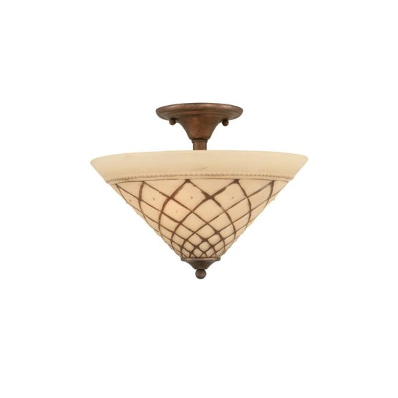 121-BRZ-718-Two-Bulb-Semi-Flush-Mount-Bronze-Finish-with-Chocolate-Icing-Glass,-16-Inch