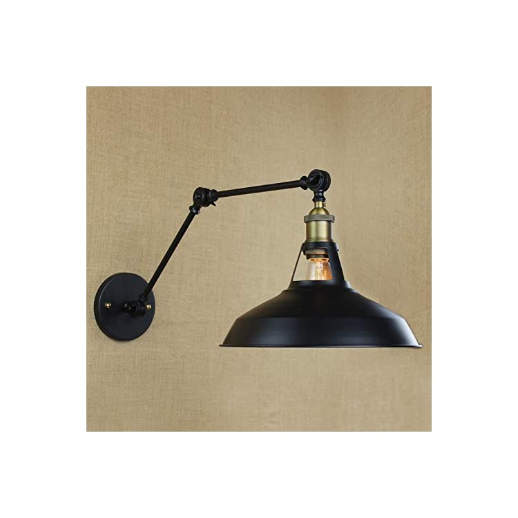 Vintage-Style-Simplicity-Wall-Swing-Arm-Lamp-Black-1-Light-Adjustable-LED-Wall-Sconce-Warehouse-Shade-for-Kitchen-Bedroom-Barn-Cafe-Living-Room