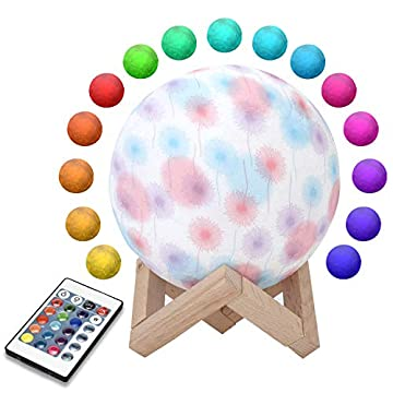 Moon-Lamp,-3D-Printing-Luna-Night-Light-with-Stand-and-Dandelion-Pattern,-7-Colors-USB-Charging-&-Remote-Control,-Break-Proof-Light-for-Kids-Lover-Friend-Birthday-Christmas-Gift,-5.9""