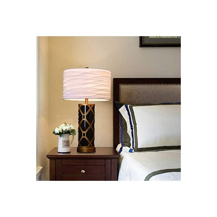 Desk-Table-Lamp-with-Texture-Pleated-Shantung-Shade-and-Metallic-Frame