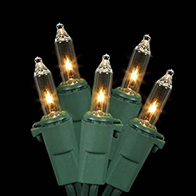 Mini-Light-Set-Features-100-Bulbs-Lights-on-Green-Wire-and-4'-Bulb-Spacing-for-Indoor/Outdoor-Use,-33',-Clear