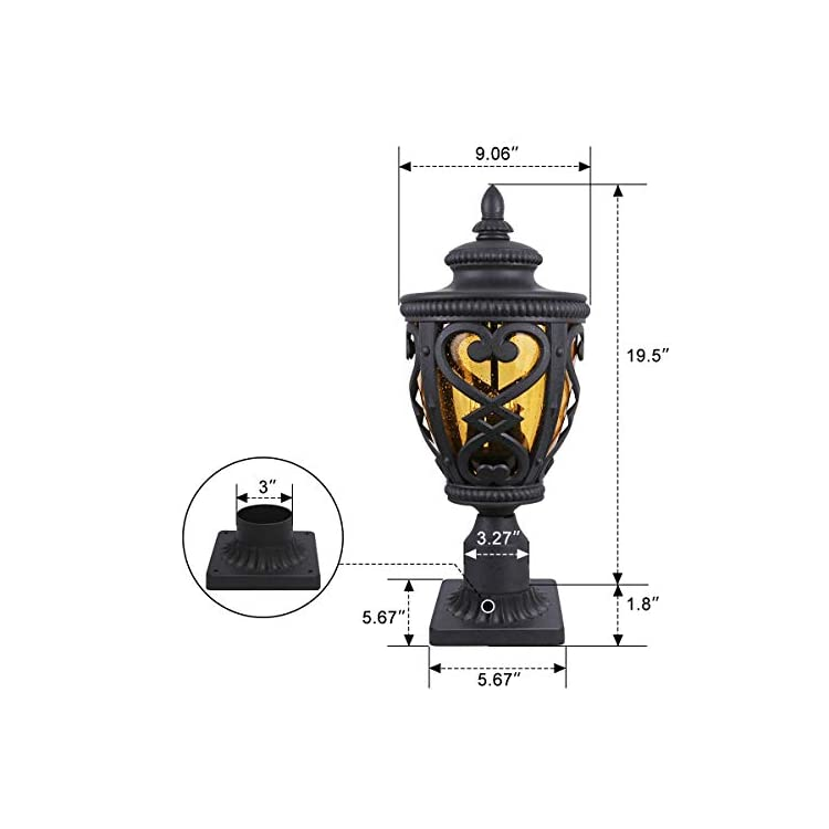 Goalplus-Outdoor-Post-Light-Fixture-with-Pier-Mount,-Vintage-Post-Lamp