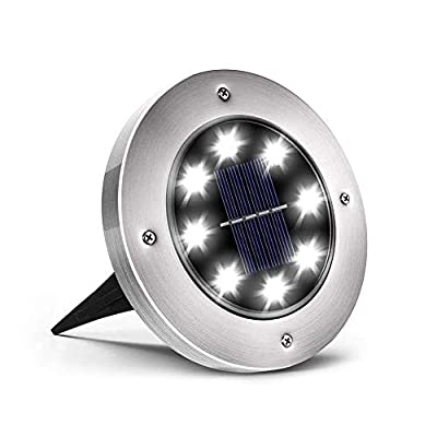 Solar-Disk-Lights-Outdoor,-8-LED-Solar-Ground-Lights-Outdoor-Waterproo