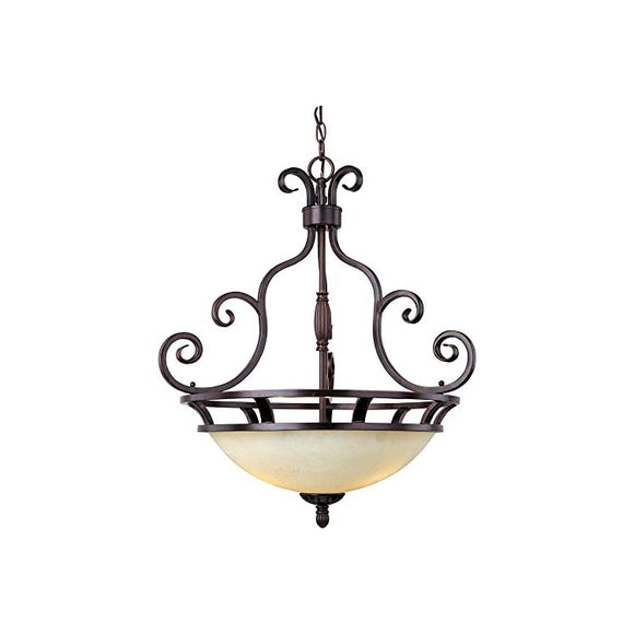 Maxim-12202FIOI-Manor-3-Light-Pendant,-Oil-Rubbed-Bronze-Finish,-Frosted-Ivory-Glass,-MB-Incandescent-Incandescent-Bulb-,-60W-Max.,-Dry-Safety-Rating,-Standard-Dimmable,-Metal-Shade-Material,-Rated-Lumens