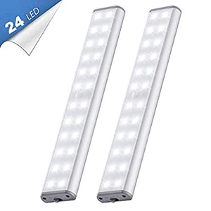 24-LED-2020-Upgraded-Cool-White-Cupboard-Lights-Motion-Sensor-Indoor-Wireless-USB-Rechargeable-Battery-with-Magnetic-Strips-for-Closet/Wardrobe/Stairs/Wall-(2-Pack)