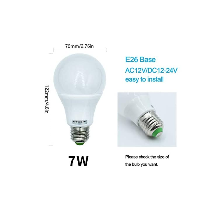 7W-E26-LED-Light-Bulbs-A19-Medium-Screw-Base,570-LM-50W-60W-70W-12V-Low-Voltage-Lamp-for-Off-Grid-Solar-System-Lighting-Marine-Boat-RV-Interior-Lighting-Camper-Warm-White-3000K-Pack-of-3