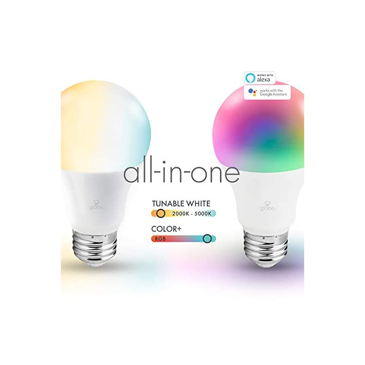 Wi-Fi-Smart-10-Watt-(60W-Equivalent)-Multicolor-Changing-RBG-Tunable-White-Dimmable-Frosted-LED-Light-Bulb-2-Pack,-No-Hub-Required,-2000K---5000K,-A19-Shape,-E26-Base-34207