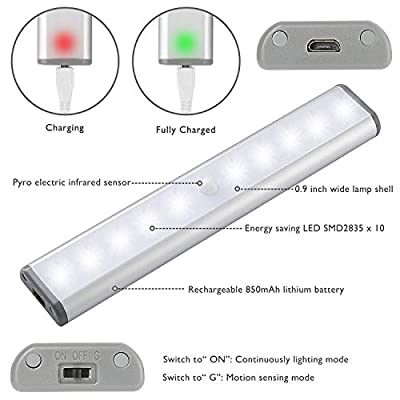 Wireless-Motion-Sensor-Cabinet-Lights-10-LED-USB-Rechargeable-Closet-Lights-LED-Under-Cabinet-Lighting-for-Wardrobe/Drawer/Stairs/Cupboard/Counter/Pantry/Stairs,Stick-On-Anywhere,2-Pack,White-Light