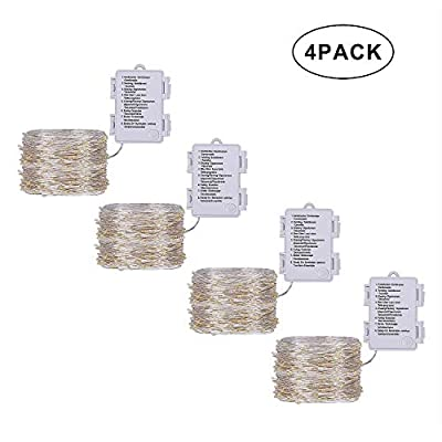 4-Pack-50LED-Fairy-String-Lights,-Battery-Operated-Waterproof-8-Modes-Silver-Copper-Wire-Christmas-Light-for-Outdoor-Indoor-Bedroom-Wedding-Christmas-(Warm-White)