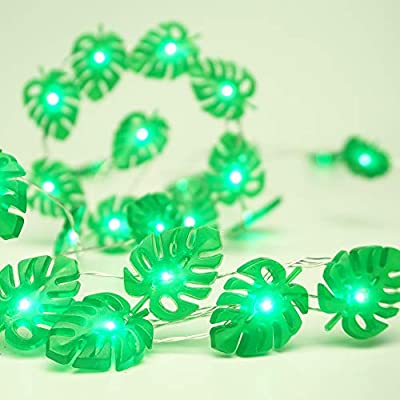 Monstera-Leaf-String-Lights-Battery-Powered-10-ft-40-LED-Fairy-Lights-with-Remote-Tropical-Palm-Leaves-for-Bedroom-Feast-of-St.-Patrick's-Day-Green-Decoration-Summer-Party-Tropical-Themed-Decor