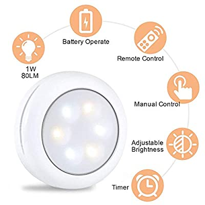 Alitade-Wireless-LED-Puck-Light-With-Remote-Control,Under-Cabinet-Lighting,LED-Closet-Light,Battery-Powered-Night-Lights,Stick-On-Light-Under-Counter-Lighting-Control-Dimmer-&-Timing-Function-(6-Pack)