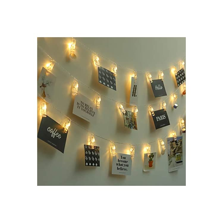Photo-Clip-String-Lights,-14.8ft-30-Chips-Battery-Powered-LED-Fairy-Lights,-Home-Decor-Lights-for-Wedding-Pictures-Halloween-Thanksgiving-Christmas-Party-Wedding---Warm-White