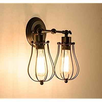 Wall-Sconce,-Industrial-Indoor-Angle-Adjustable-Metal-Wall-Light-Rustic-Wire-Cage-Wall-Sconce-(2-Cages)