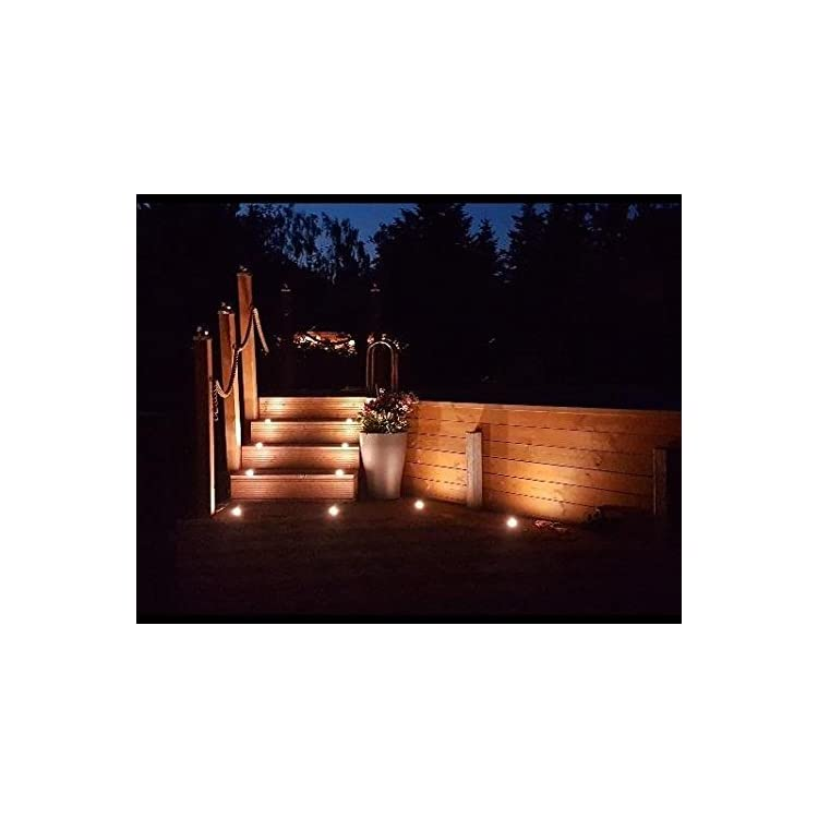 Low-Voltage-LED-Deck-Lighting-Kit-Stainless-Steel-Waterproof-Outdoor-Landscape-Garden-Yard-Patio-Step-Decoration-Lamps-LED-In-ground-Lights,-Pack-of-10(Warm-White)