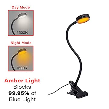 Headboard-Clip-On-Reading-Light,-Blue-Light-Blocking,-Amber-LED-Night-Light-for-Reading-in-Bed,-at-Computer-or-Desk.-Day/Night-Modes-for-White/Amber-Light.-1600K-Sleep-Aid-Light-by-.-Black