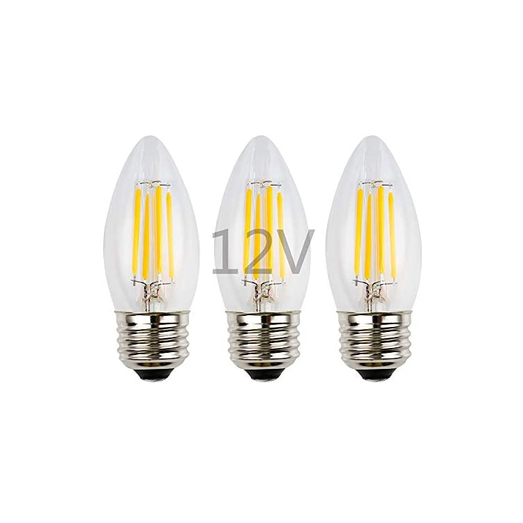 12-Volt-Input-4W-LED-Filament-Bulb,-Dimmable-with-12V-DC-Dimmer,-E26-Medium-Base,-Clear-Glass-Torpedo-Tip,-Warm-White-Light,-40W-Incandescent-Replacement,-12V-24V-Low-Voltage-DC-Power,-3-Pack