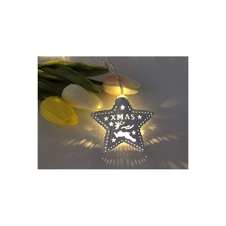 Xmas-Star-Decorations-10Ft-20-LED-String-Lights-for-Christmas-New-Year-Party-Bar-Home-Garden-(Warm-White)