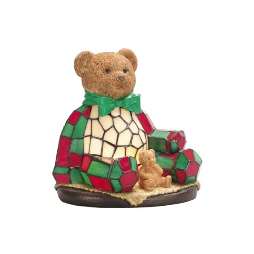 Dale-Tiffany-RS106-Noel-Bear-Night-Light,-Hand-Painted-and-Art-Glass-Shade