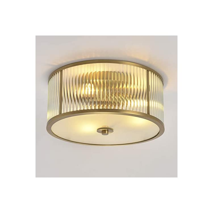 Brass-Structure-Gold-Ceiling-Flush-Mount-Light-Fixtures-with-Grooved-G