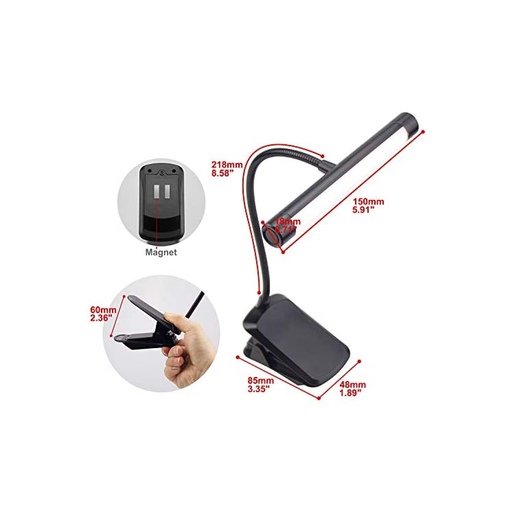 Music-Stand-Light-Clip-on-Reading-Light-Cordless-Rechargeable-Book-Lig