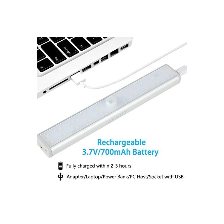 Rechargeable-Under-Cabinet-Lighting-20LED,-Under-Closet-Counter-Shelf-Lights-with-Remote-Control,-Stick-On-Anywhere-Portable-Wireless-Magnet-Bar-for-Kitchen,-Wardrobe,-Garage(Silver)---3Pack