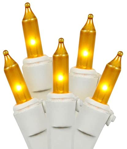 Mini-Light-Set-Features-100-Bulbs-Lights-on-White-Wire-and-4'-Bulb-Spacing-for-Indoor/Outdoor-Use,-33',-Gold