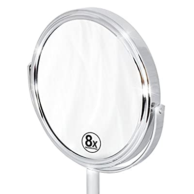 Decobros-6-inch-Tabletop-Two-Sided-Swivel-Vanity-Mirror-with-8X-Magnification,-11-inch-Height,-Chrome-Finish