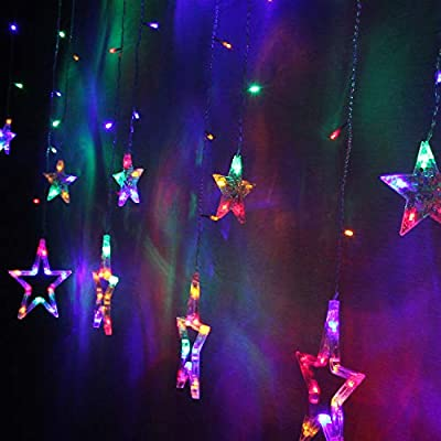Star-Indoor-Curtain-Light-String,-6-Small-Stars-and-6-Big-Stars.-8-Light-Modes,-Festival-Decoration-for-Halloween,-Christmas,-Party,-Wedding,-IP44-Waterproof,-138-LEDs.(Colorful)