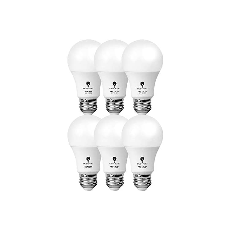12-Volt-Light-Bulb-12V-LED-Bulb-A19-6W-3000K-Warm-White-E26-Low-Voltage-Light-Bulbs-570lm-(50Watt-Equivalent)-RV-Camper-Marine,-Solar-Battery-System-Lighting-6-Pack
