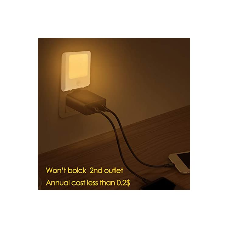 Plug-in-Motion-Sensor-Night-Light,-Adjustable-Brightness-Warm-White-LED-Nightlight-for-Kitchen,-Hallway,-Stairway,-Bathroom,-Bedroom-(2-Pack)