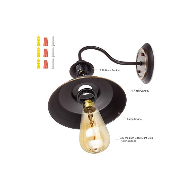 Retro-Gooseneck-Wall-Lamp-Wall-Sconce-Iron-Durable-Indoor-Wall-Fixture,-Oil-Black-Finish-with-Highlights-and-Metal-Shade-Industrial-Vintage-Farmhouse-Wall-Light-2-Pack