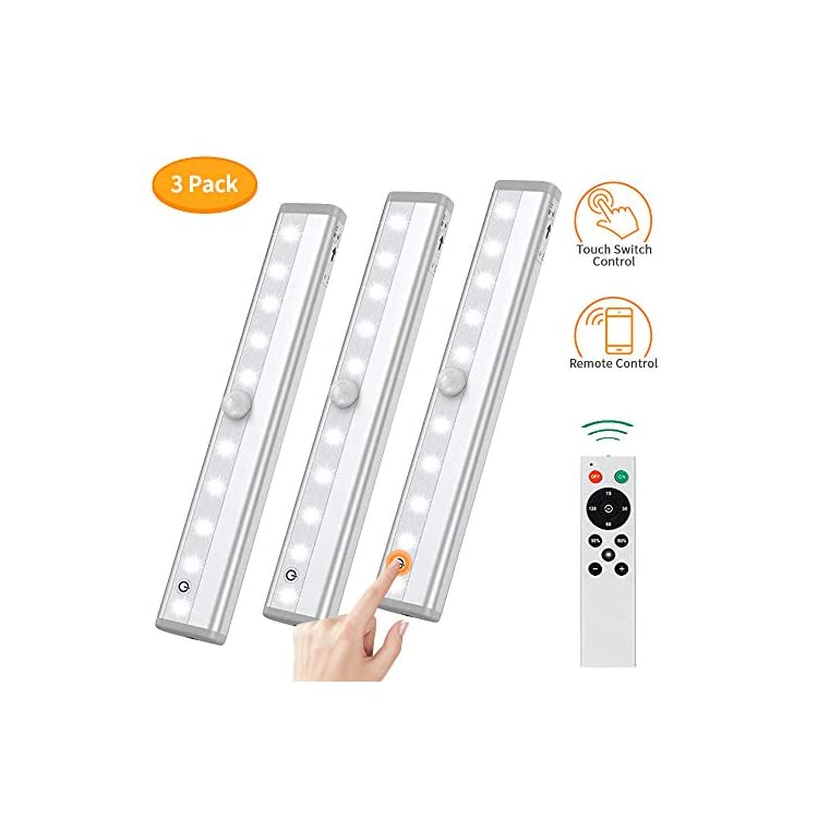 Remote-Control-Dimmable-Cabinet-Light,-10-LED-Touch-Control-Kitchen-Counter-Light,-Battery-Operated-Wireless-Stick-on-Closet-Light,-Corridor-Sensor-Night-Light,-RT3P,-Silver-3-Pack