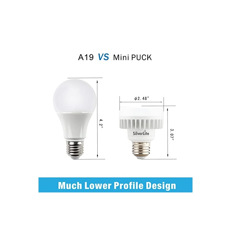 10w-LED-Mini-Puck-E26-Medium-Base-Squat-Bulb,100w-Incandescent-Equivlent,50000hrs-Life,1000LM,Soft-White(2700K),120-277V,Suitable-for-Indoor-and-Outdoor-Fixture,UL-Wet-Location-Listed