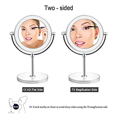 Lighted-Makeup-Mirror-1X-7X-Magnification-Double-Sided-Round-Shape-with-Base-Touch-Button,-Cordless-and-Rechargeable