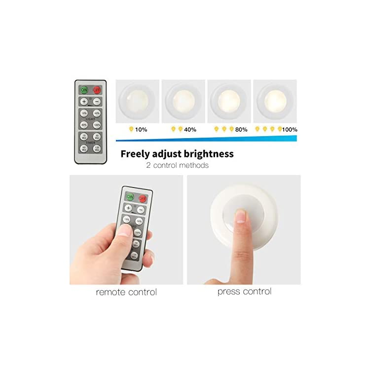 LED-Puck-Lights-Battery-Operated-6-Pack,-Under-Cabinet-Lighting-Wireless-with-Remote-Control-Timer-Function-Closet-Light-4000k