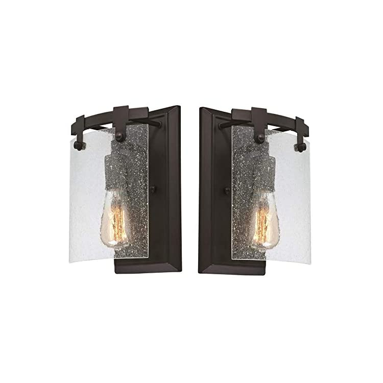 Westinghouse-Burnell-One-Light-Indoor-Wall-Fixture,-Oil-Rubbed-Bronze-Finish-with-Clear-Seeded-Glass-(One-Light-Wall-2-Pack)