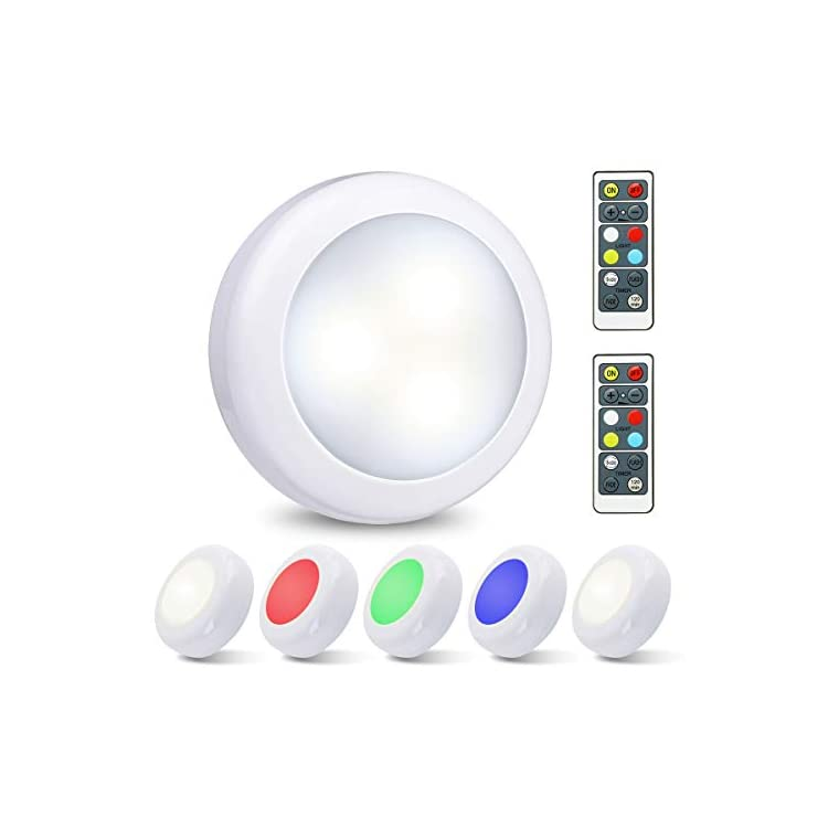 LED-Closet-Lights-Under-Cabinet-Lighting-Wireless-Color-Changing-LED-Puck-Lights-3-Modes-RGB-Under-Counter-Lighting-with-2-Remote-Controls-Battery-Powered-Lights-Stick-On-Lights-(6-Pack)