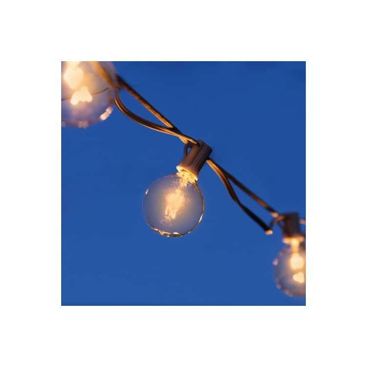 G50-Clear-Bulbs-with-26-Ft-Long-Green-Wire,-UL-Listed---Set-of-25---Extendable-Up-To-3-Strings-Indoor/Outdoor-String-Lights