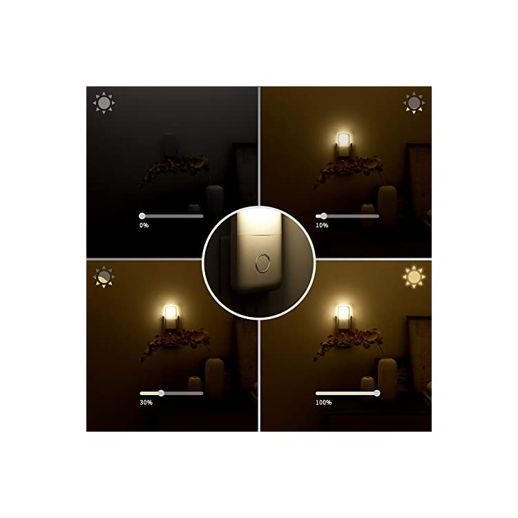 Plug-in-LED-Night-Light,-Adjustable-Brightness-LED-Nightlight-with-Auto-Dusk-to-Dawn-Sensor,-Dimmable-Lights-for-Hallway,-Bathroom,-Stairs,-Bedroom,-Kitchen,-Warm-White-3-Pack