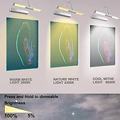 Picture-Light-Wireless-Battery-Operated-Heads-Rotatable-180-Degree-LED-Remote-Control-Dimmable-Natural/Warm/Cold-Light-Time-Preset-Lighting-for-Artwork/Pictures/Diplomas-Silver