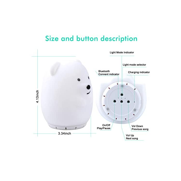 Kids-Night-Light-with-Bluetooth-Speaker,-LED-Cute-Animal-Bear-Nightlig