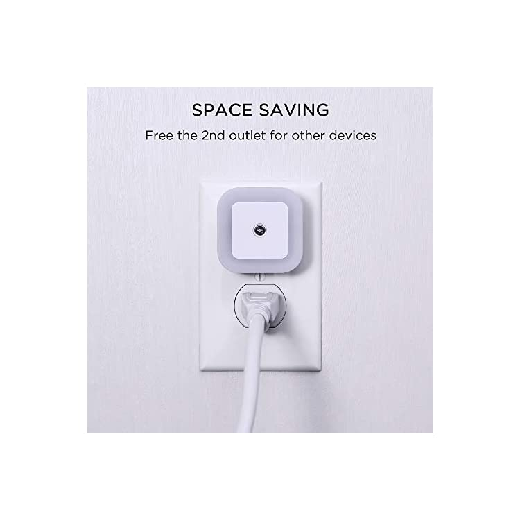 Sycees-Plug-in-LED-Night-Light-with-Dusk-to-Dawn-Sensor-for-Bedroom,-Bathroom,-Kitchen,-Hallway,-Stairs,-Daylight-White,-6-Pack