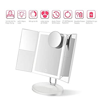 Trifold-Makeup-Mirror-with-34PCS-LED-Lights,-Upgraded-Metal-Stand,-Personal-Vanity-Mirror-1X/2X/3X/7X-Magnification