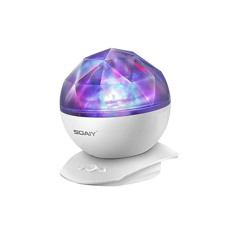 Aurora-Night-Light-Projector-Lights,-Soaiy,-8-Changing-Aurora-and-360°Rotatable,-1h-Auto-closes-,-Built-in-Speaker,-for-kids-or-Adults-to-Sleep-Soothe,-Insomniac-and-Anxious-Relax,-Party-Lights-White
