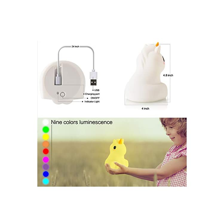 LED-Nursery-Night-Lights-for-Kids--USB-Rechargeable-Animal-Silicone-Lamps-with-Touch-Sensor-and-Remote-Control--Portable-Color-Changing-Glow-Soft-Cute-Baby-Infant-Toddler-Gift-(Unicorn)